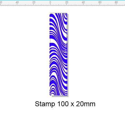 Edge Stamp 100 x 20 mm  zebra,Stamp Rubber only, Acrylic blocks